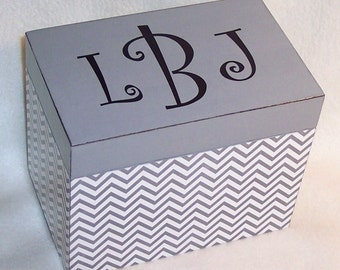 Recipe Box, Gray Chevron Wooden Recipe Box - 4X6 -  5X7 - Keepsake Box -  Personalized -Shower Gift