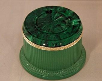 Vintage Green Glass Vanity Jar Unusual