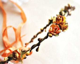 Rustic Roses Flower crown. rustic wedding, floral crown, Bohemian, Woodland, fall, autumn, bridemaids,Rustic Wedding, farm wedding