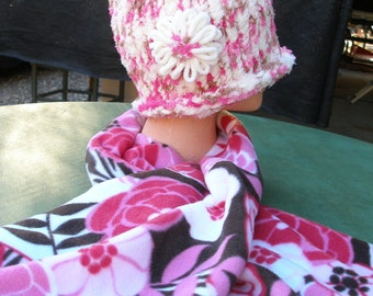 Handmade Knitted Hat w/ Handmade Floral Fleece Scarf, Matching Set, Super Soft Very Warm Hat!, Pinks, Cream, Browns