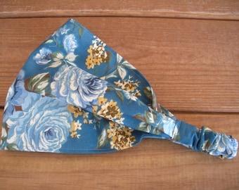 Teal Floral Headband Women Fabric Headband Accessories Women Headband Yoga Headband  with Blue Roses Gold Flower
