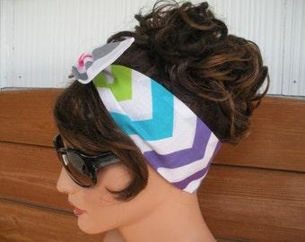 Womens Headband Dolly Bow Headband Retro Headband Fashion Accessories Women Headscarf Headwrap in Multicolor Chevron