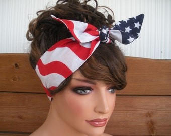 American Flag Headband 4th of July Headband Dolly Bow Retro Fashion Accessories Women Headband Headwrap Tie Up Head Scarf