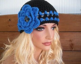 Women's Hat Crochet Hat Winter Fashion Accessories Womens Beanie Hat Cloche in Black with Blue Stripes and Crochet Flower