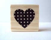 Polkadot Pattern Heart Wooden Mounted Rubber Stamping Block DIY cards, scrapbooking, tags, Invitations, and Greeting Cards