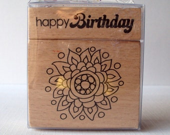 Happy Birthday 2 piece set Wooden Mounted Rubber Stamping Block DIY cards, tags, Invitations, and Scrapbooking