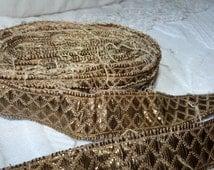 Antique French gold metallic trim trimming passementerie galon 1800s religious gold bullion metallic thread trim vestment sewing supply