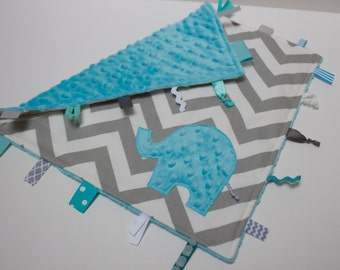 Aqua grey Elephant Chevron ribbon sensory toy lovey blanket shower gift