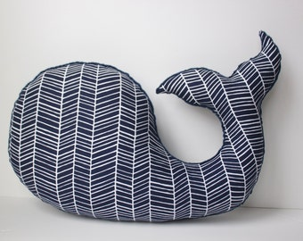 Chevron herringbone WHALE pillow, nautical nursery decor, navy white, beach baby shower gift
