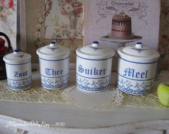 Delft Blue Kitchen Dollhouse Canisters 1/12 scale