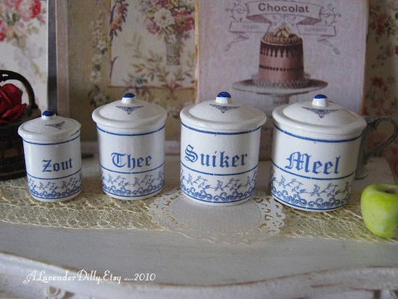 delft blue kitchen dollhouse canisters 1 12 scale