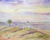 Beach Scene, Sand Dunes, Palm Tree, Sunset on Ocean, Gulls, Fishing Boat, Purple Sky, Original, Watercolor, Painting, purple blue yellow