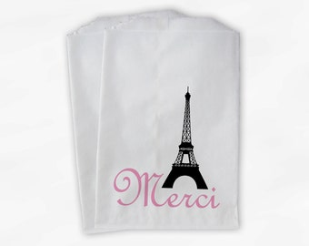 French Style Wedding Candy Buffet Bags - Eiffel Tower Favor Bags with Merci - Thank You Paper Treat Bags (0023)