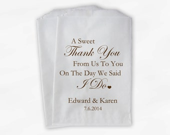 Sweet Thank You Wedding Candy Buffet Treat Bags - Coffee Brown Personalized Favor Bags with Couple's Names and Wedding Date (0054)