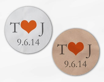 Initials & Heart Wedding Favor Stickers - Orange and Gray Custom White Or Kraft Round Labels for Bag Seals, Envelopes, Mason Jars (S0004)