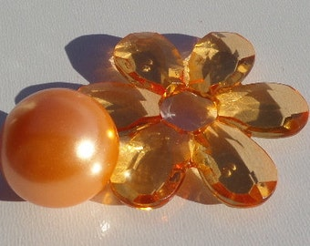 41*45mm, 4CT, Orange Flower Bead, Chunky Flower, Transparent Acrylic Beads, J40