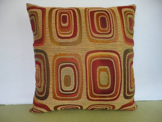 Geometric Pillow Cover In Rust Burgundy Green And Gold