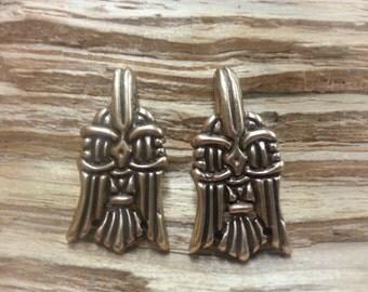 06.202.BZ  Wickelbander/Winnigas hooks, Viking age bronze leg wrap hooks. set of 2. raven.