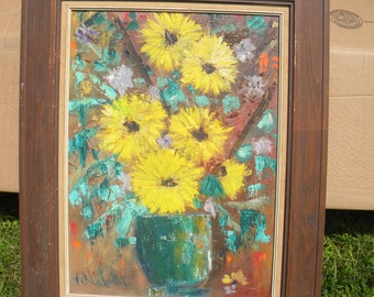 nice clean vintage retro mid century signed 1966 FLORAL OIL PAINTING  free shipping