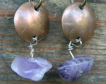 Dapped Copper Penny Amethyst Stones Earrings Valentine Mother's Day Graduation Gift