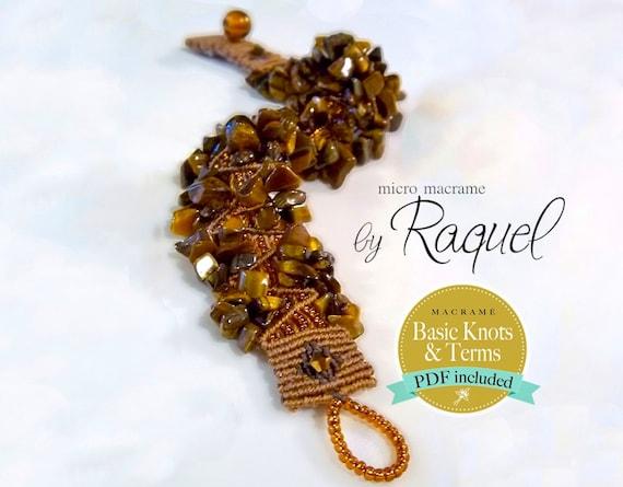 Micro Macrame PDF Tutorial Tiger Eye Beads Bracelet