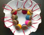 Multicolor Felted Acorns - Holiday ornament -Home Decor 2013