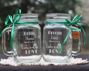 Lucky in Love Wedding Shamrock Mason Jars - Personalized Bride and Groom Toasting Glasses