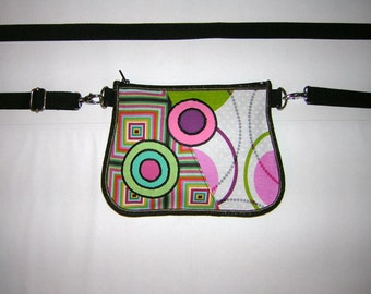 2in1 Small BELT BAG mini hip bag -bike bicycle tote-  sling purse /festival wallet/  mixed fabrics in White Green Pink Rainbow with circles