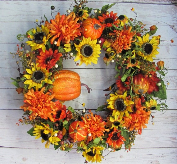 Sale Fall Wreaths Pumpkin Floral Wreath By Designawreath