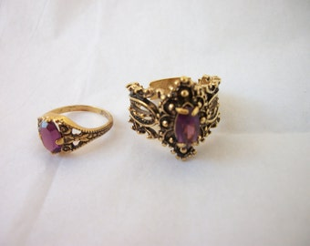 Gypsy Bohemian Hippie Chic Rings ~ 2 Rings Included ~ Purple ~ Antiqued Gold Tone ~ Gypsy Style