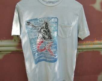 Hand Carved Sirena Loteria Mermaid On Distressed Men's Shirt.
