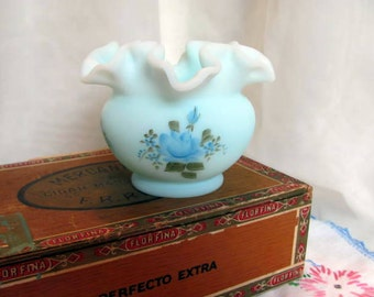 Blue Fenton Vase /  Fenton Blue Roses on Blue Satin
