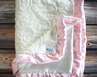 Minky blanket, soft blanket, blessing blanket, blanket with ruffle, soft blanket, embroidered blanket, baptism blanket, sensory blanket