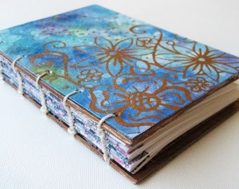 Handpainted Journal - small Blue and Gold