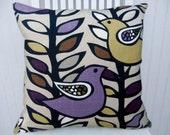 Purple, Gold  Pillow Cover--18x18 or 20x20 or 22x22 Designer Decorative Throw Pillow - RIchloom Linen Blend Throw Pillow