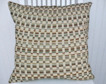 Grey Gold  Decorative Pillow Cover- 18x18 20x20 22x22 Throw Pillow- Green, Brown, Grey, Gold and cream