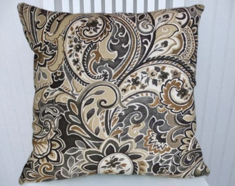 Grey Decorative Pillow Cover-Paisley 18x18 or 20x20 or 22x22 Throw Pillow--Floral and Paisley--Black, Grey, Beige, Brown