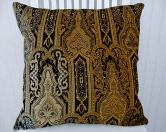 Black Gold Chenille Pillow Cover--Classic, Decorative Pillow 18x18 or 20x20 or 22x22Throw Pillow Cover