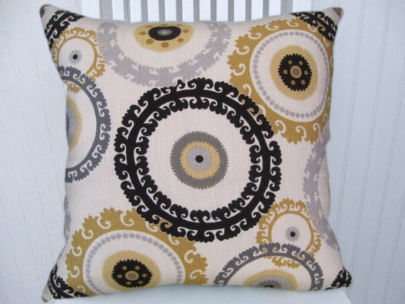 Grey Honey Suzani  Pillow Cover-- Throw Pillow--Accent Pillow 18x18 or 20x20 or 22x22-with Black