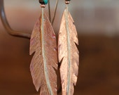 I Think I Can Fly - Copper Feather - Turquoise - Earring - Sterling - Dangle