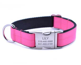 Hot Pink Ribbon & Webbing Dog Collar with Laser Engraved Personalized Buckle