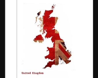 United Kingdom England Flag Map - Print Poster Map -