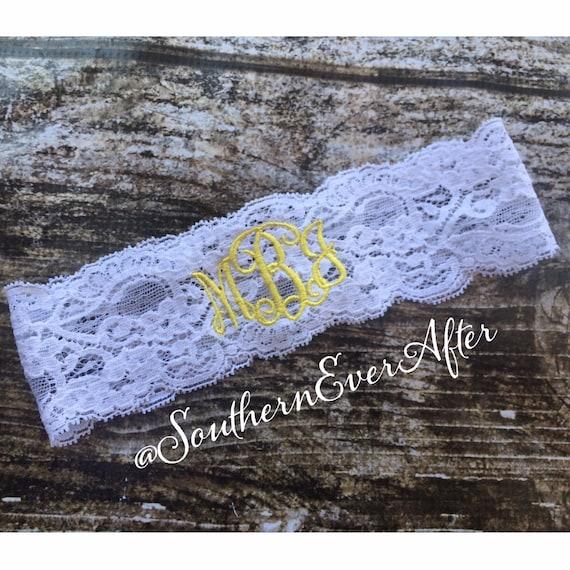 MONOGRAMMED KEEPSAKE ONLY / Yellow Lace Garter / Initials Garter / lace garter / toss garter / Something Blue / vintage garter