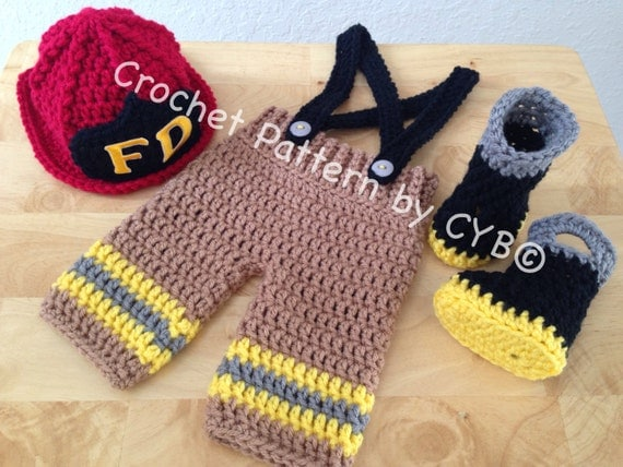 Crochet Pattern For Baby Fireman Hat : CROCHET PATTERN Newborn Size Baby Firefighter Fireman Hat