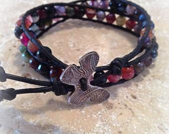 Leather wrap bracelet double wrap