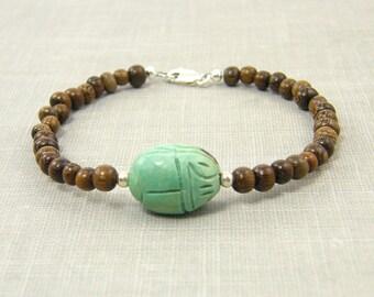 Scarab Bracelet, Wood Bracelet, Turquoise Brown Bead Bracelet Boho Gypsy Earthy Bohemian Jewelry