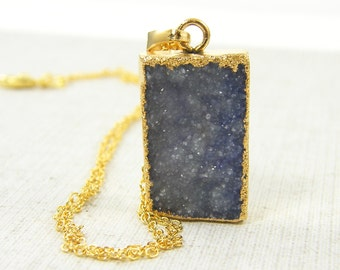 Druzy Jewelry, Purple Druzy Necklace, Lavender Rough Gemstone Pendant Necklace, Geode Gold Dipped Stone