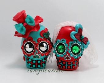 Skull weddings cake topper handmade red & blue bride and groom