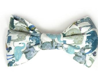Mens Clip-On Bow Tie blue animal print bowtie