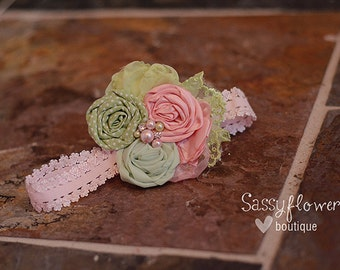 Light Pink & Mint Green Rosettes with Lace Accent and Jewel/Pearl Center on an Elastic Headband